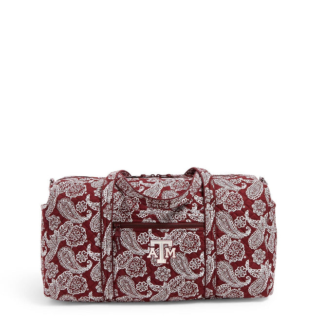 Collegiate Large Travel Duffel Bag-Maroon/White Bandana with Texas A and M University Logo-Image 1-Vera Bradley