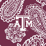Collegiate Large Travel Duffel Bag-Maroon/White Bandana with Texas A and M University Logo-Image 4-Vera Bradley