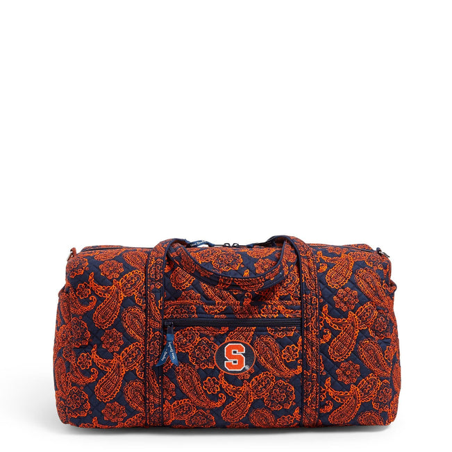 Collegiate Large Travel Duffel Bag-Navy/Orange Bandana with Syracuse University Logo-Image 1-Vera Bradley