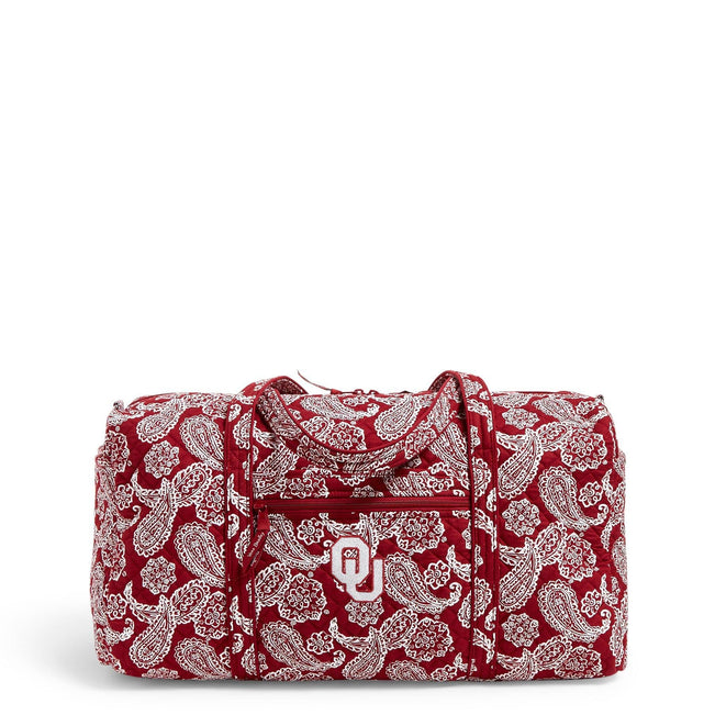 Collegiate Large Travel Duffel Bag-Cardinal/White Bandana with University of Oklahoma Logo-Image 1-Vera Bradley