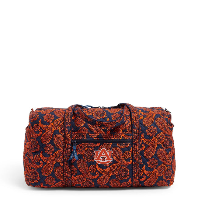 Collegiate Large Travel Duffel Bag-Navy/Orange Bandana with Auburn University Logo-Image 1-Vera Bradley