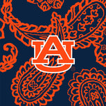 Collegiate Large Travel Duffel Bag-Navy/Orange Bandana with Auburn University Logo-Image 2-Vera Bradley