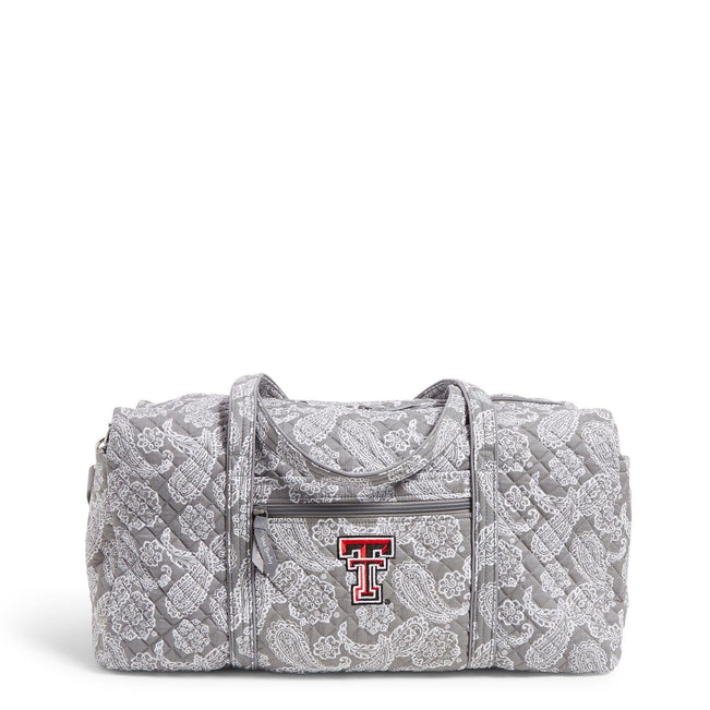Collegiate Large Travel Duffel Bag-Gray/White Bandana with Texas Tech University Logo-Image 1-Vera Bradley