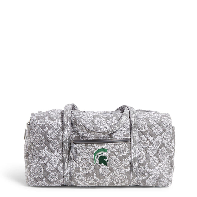 Collegiate Large Travel Duffel Bag-Gray/White Bandana with Michigan State University Logo-Image 1-Vera Bradley
