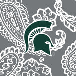 Collegiate Large Travel Duffel Bag-Gray/White Bandana with Michigan State University Logo-Image 2-Vera Bradley