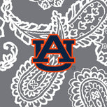Collegiate Large Travel Duffel Bag-Gray/White Bandana with Auburn University Logo-Image 2-Vera Bradley