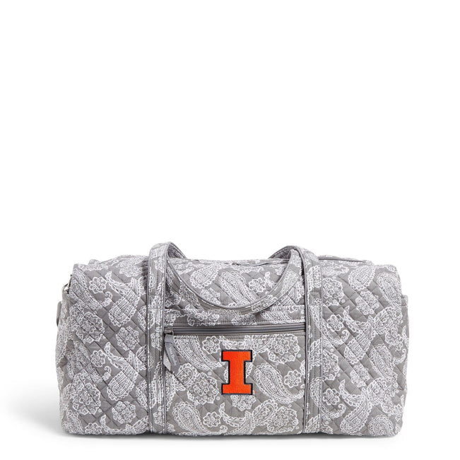 Collegiate Large Travel Duffel Bag-Gray/White Bandana with University of Illinois Logo-Image 1-Vera Bradley