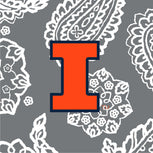 Collegiate Large Travel Duffel Bag-Gray/White Bandana with University of Illinois Logo-Image 2-Vera Bradley