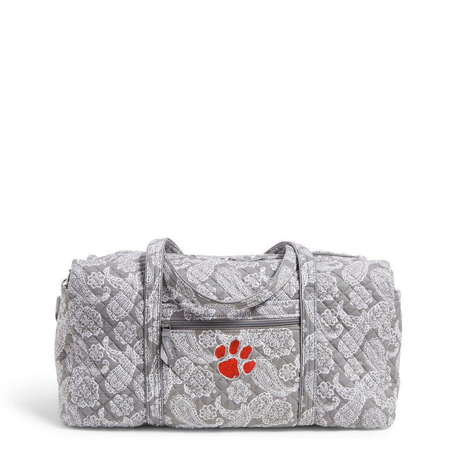 Collegiate Large Travel Duffel Bag-Gray/White Bandana with Clemson University Logo-Image 1-Vera Bradley