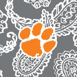 Collegiate Large Travel Duffel Bag-Gray/White Bandana with Clemson University Logo-Image 2-Vera Bradley