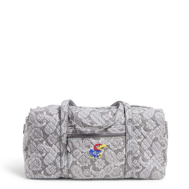 Collegiate Large Travel Duffel Bag-Gray/White Bandana with University of Kansas Logo-Image 1-Vera Bradley