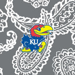 Collegiate Large Travel Duffel Bag-Gray/White Bandana with University of Kansas Logo-Image 2-Vera Bradley