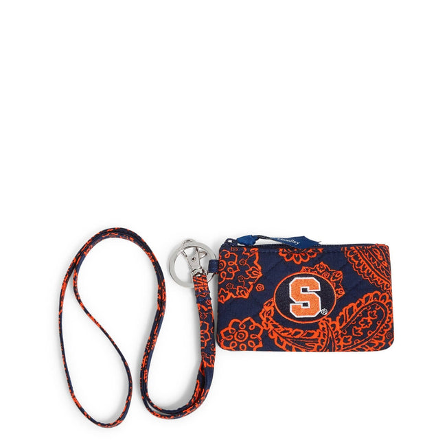Collegiate Zip ID Lanyard-Navy/Orange Bandana with Syracuse University Logo-Image 1-Vera Bradley