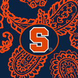 Collegiate Zip ID Lanyard-Navy/Orange Bandana with Syracuse University Logo-Image 2-Vera Bradley