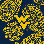 Collegiate Zip ID Lanyard-Navy/Gold Bandana with West Virginia University Logo-Image 2-Vera Bradley