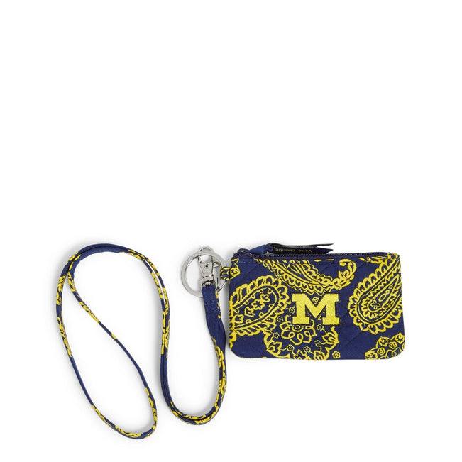 Collegiate Zip ID Lanyard-Navy/Gold Bandana with University of Michigan Logo-Image 1-Vera Bradley