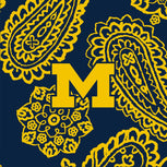 Collegiate Zip ID Lanyard-Navy/Gold Bandana with University of Michigan Logo-Image 2-Vera Bradley