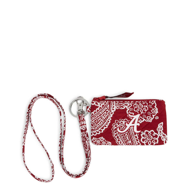 Collegiate Zip ID Lanyard-Cardinal/White Bandana with The University of Alabama Logo-Image 1-Vera Bradley