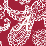 Collegiate Zip ID Lanyard-Cardinal/White Bandana with The University of Alabama Logo-Image 2-Vera Bradley