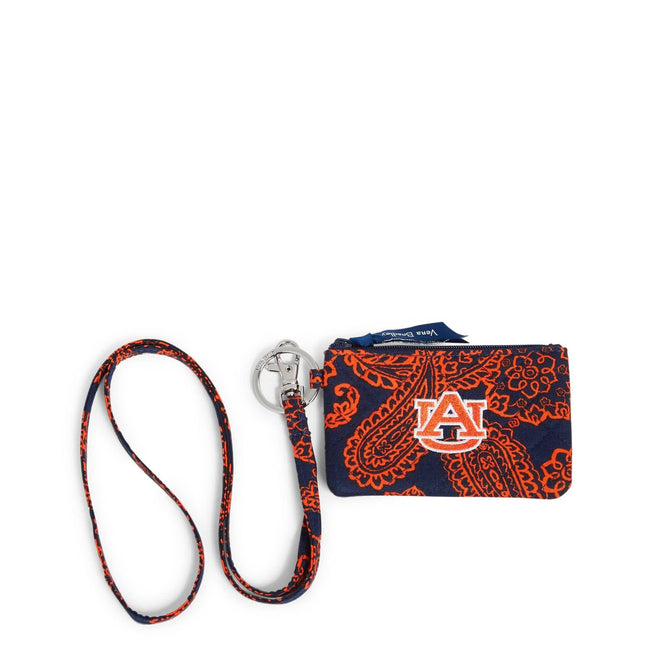 Collegiate Zip ID Lanyard-Navy/Orange Bandana with Auburn University Logo-Image 1-Vera Bradley
