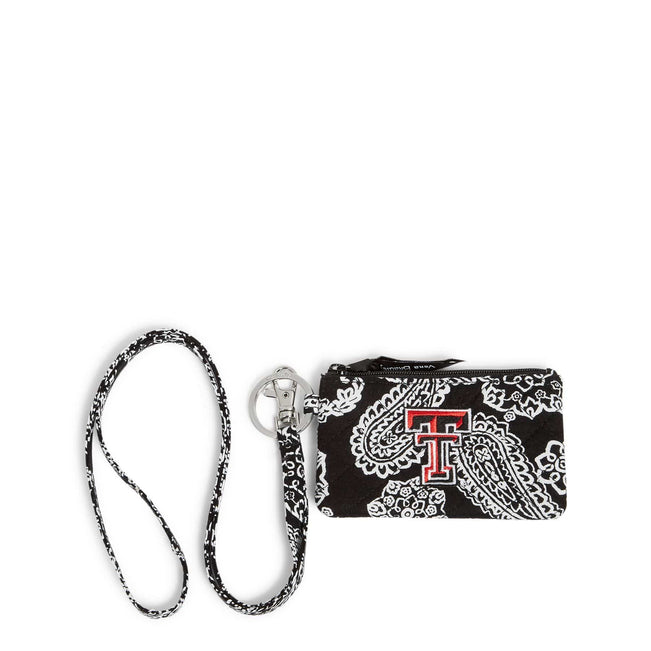 Collegiate Zip ID Lanyard-Black/White Bandana with Texas Tech University Logo-Image 1-Vera Bradley