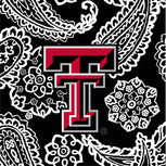 Collegiate Zip ID Lanyard-Black/White Bandana with Texas Tech University Logo-Image 2-Vera Bradley