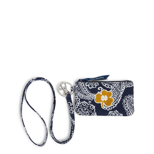 Collegiate Zip ID Lanyard-Navy/White Bandana with University of Notre Dame Logo-Image 1-Vera Bradley