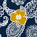 Collegiate Zip ID Lanyard-Navy/White Bandana with University of Notre Dame Logo-Image 2-Vera Bradley