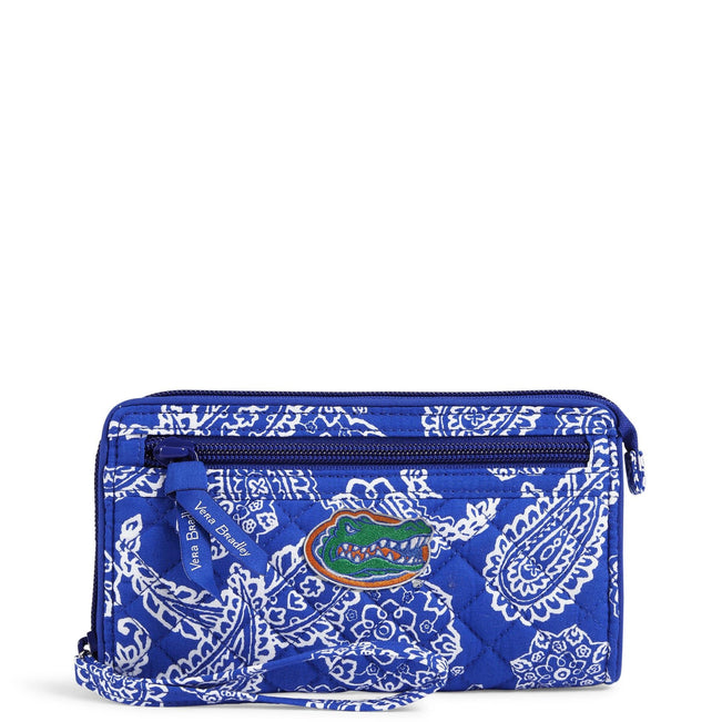 Collegiate RFID Front Zip Wristlet-Royal/White Bandana with University of Florida-Image 1-Vera Bradley