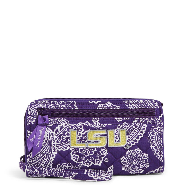 Collegiate RFID Front Zip Wristlet-Purple/White Bandana with Louisiana State University-Image 1-Vera Bradley