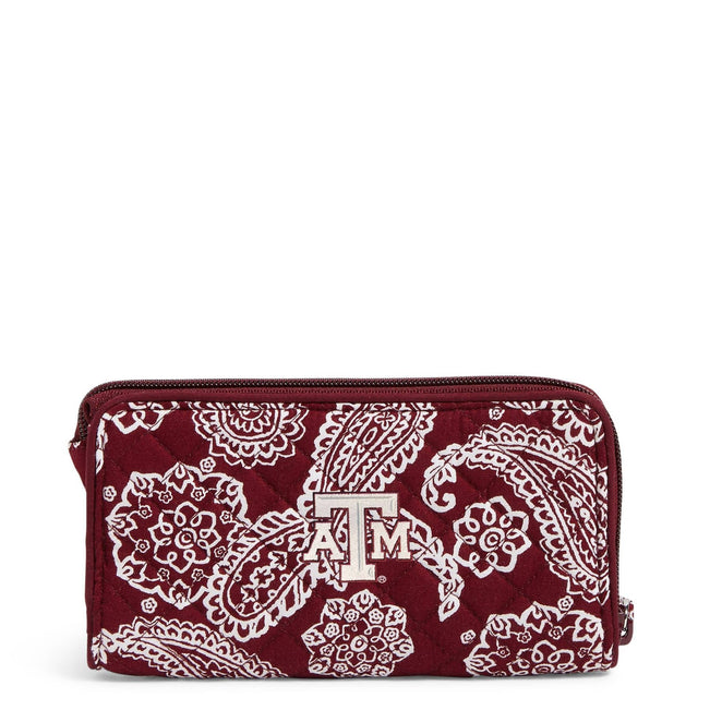 Collegiate RFID Front Zip Wristlet-Maroon/White Bandana with Texas A and M University Logo-Image 1-Vera Bradley
