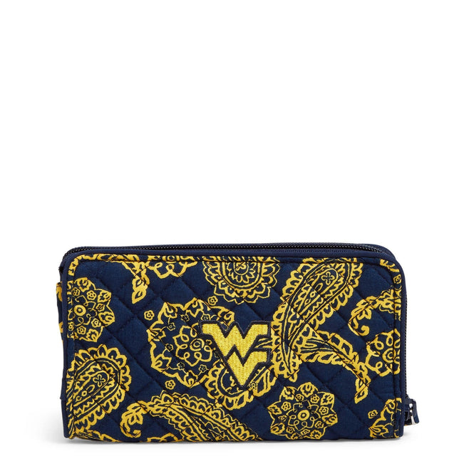 Collegiate RFID Front Zip Wristlet-Navy/Gold Bandana with West Virginia University Logo-Image 1-Vera Bradley