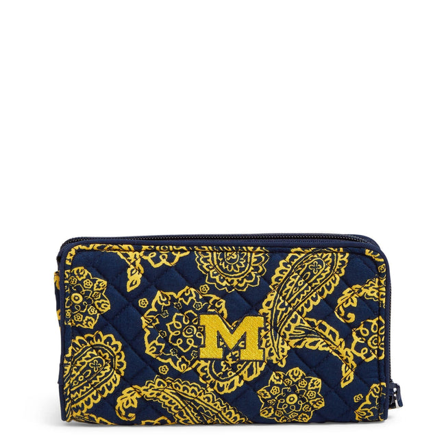 Collegiate RFID Front Zip Wristlet-Navy/Gold Bandana with University of Michigan Logo-Image 1-Vera Bradley