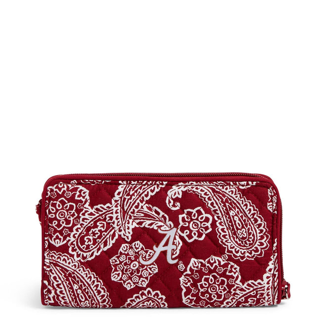 Collegiate RFID Front Zip Wristlet-Cardinal/White Bandana with The University of Alabama Logo-Image 1-Vera Bradley