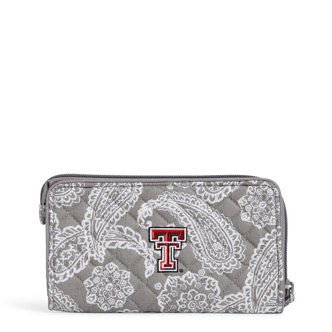 Collegiate RFID Front Zip Wristlet-Gray/White Bandana with Texas Tech University Logo-Image 1-Vera Bradley