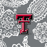 Collegiate RFID Front Zip Wristlet-Gray/White Bandana with Texas Tech University Logo-Image 2-Vera Bradley