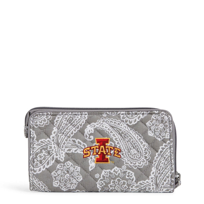 Collegiate RFID Front Zip Wristlet-Gray/White Bandana with Iowa State University Logo-Image 1-Vera Bradley