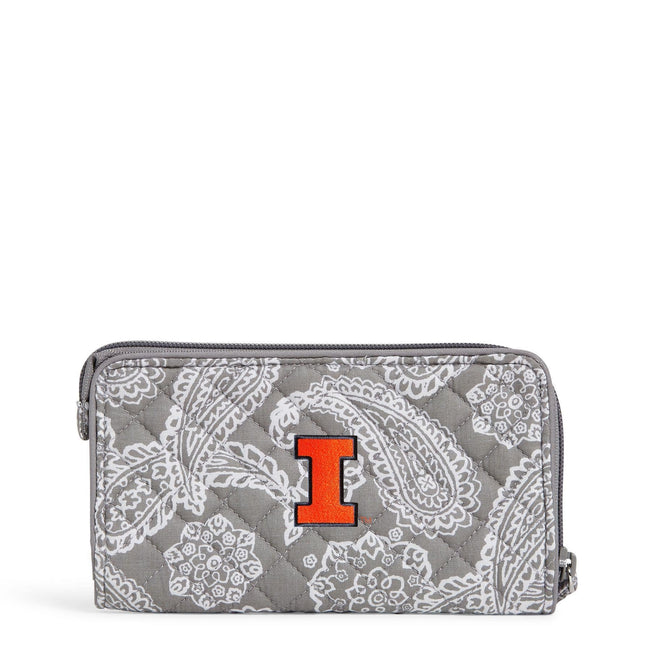 Collegiate RFID Front Zip Wristlet-Gray/White Bandana with University of Illinois Logo-Image 1-Vera Bradley