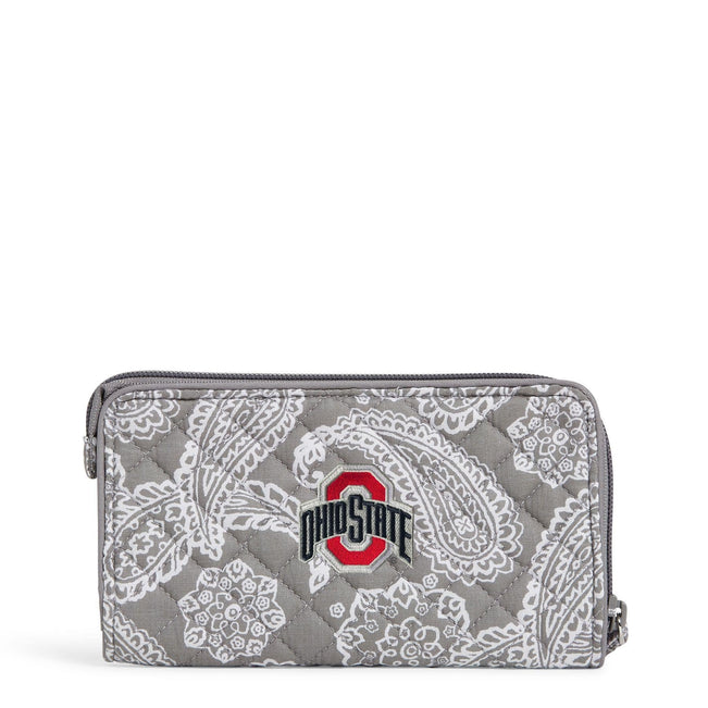 Collegiate RFID Front Zip Wristlet-Gray/White Bandana with The Ohio State University Logo-Image 1-Vera Bradley