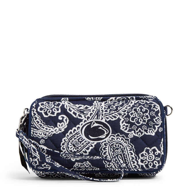 Collegiate RFID All in One Crossbody Bag-Navy/White Bandana with Penn State University Logo-Image 1-Vera Bradley