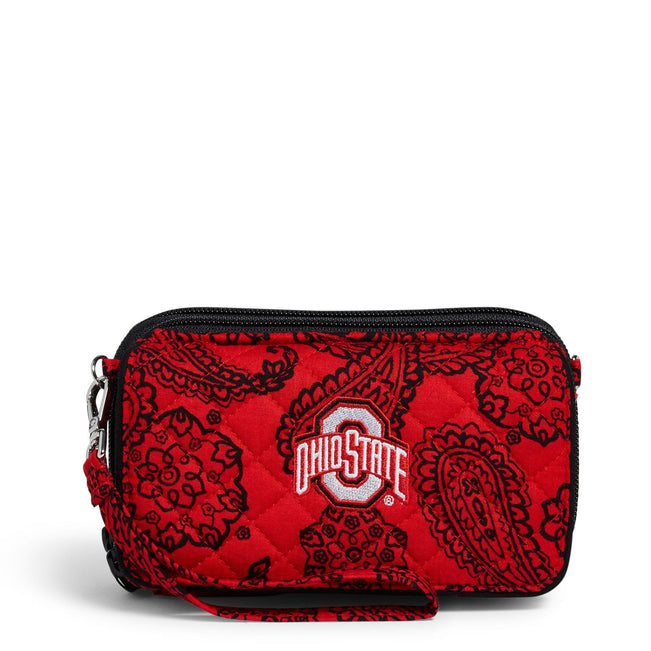 Collegiate RFID All in One Crossbody Bag-Red/Black Bandana with The Ohio State University Logo-Image 1-Vera Bradley