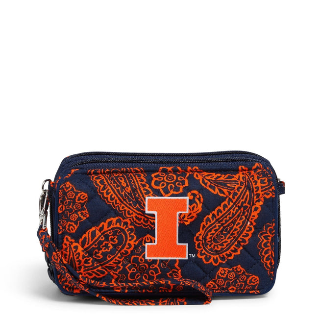 Collegiate RFID All in One Crossbody Bag-Navy/Orange Bandana with University of Illinois Logo-Image 1-Vera Bradley