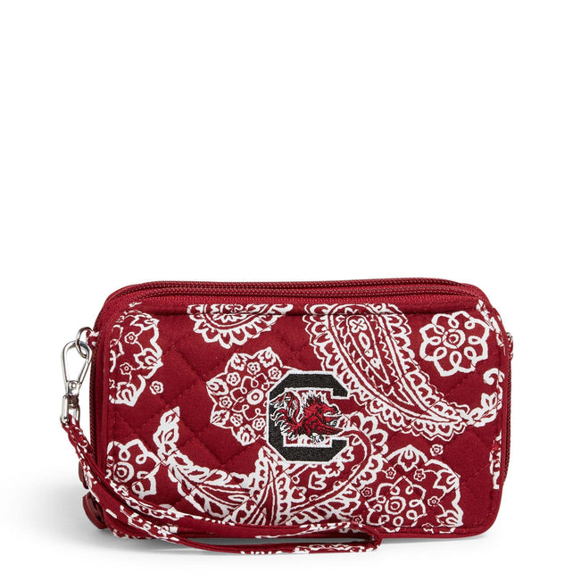 Collegiate RFID All in One Crossbody Bag-Cardinal/White Bandana with University of South Carolina Logo-Image 1-Vera Bradley