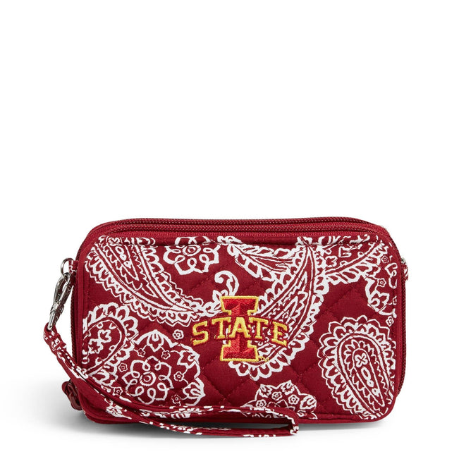 Collegiate RFID All in One Crossbody Bag-Cardinal/White Bandana with Iowa State University Logo-Image 1-Vera Bradley