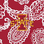 Collegiate RFID All in One Crossbody Bag-Cardinal/White Bandana with Iowa State University Logo-Image 2-Vera Bradley