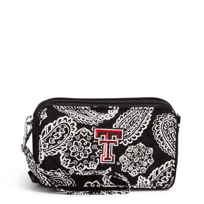 Collegiate RFID All in One Crossbody Bag-Black/White Bandana with Texas Tech University Logo-Image 1-Vera Bradley