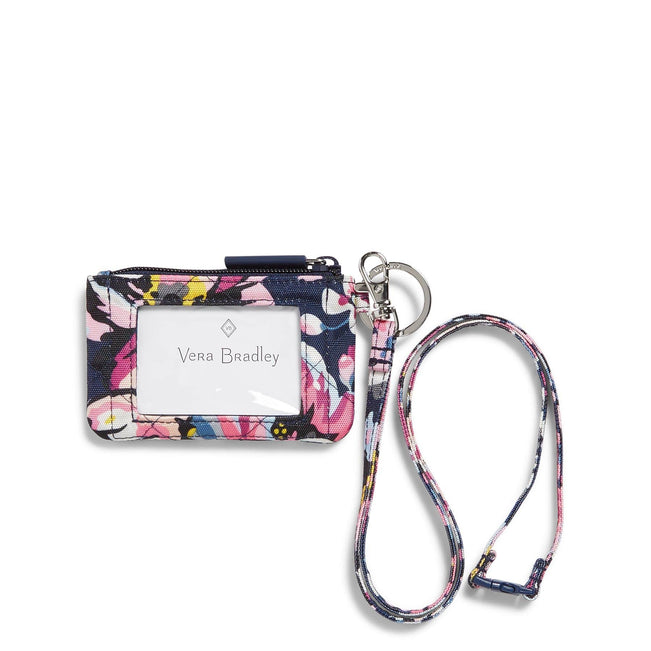 Healthcare Professional Zip ID Lanyard-Indiana Blossoms Navy-Image 1-Vera Bradley