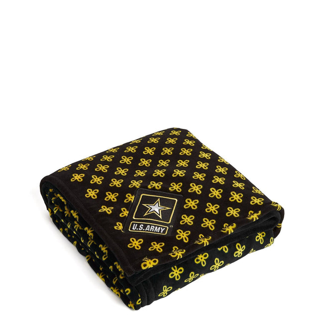 Military XL Throw Blanket-Black/Var. Gold Mini Concerto with U.S. Army Logo-Image 1-Vera Bradley