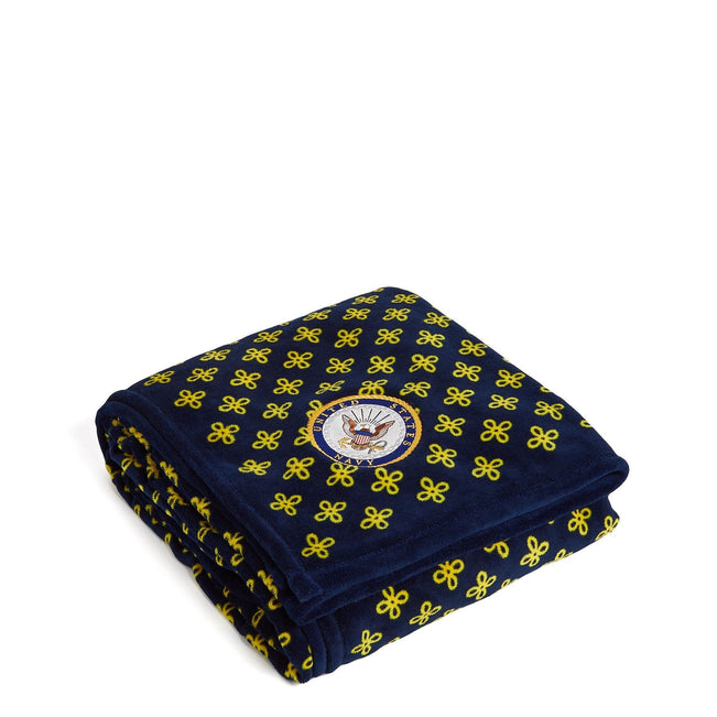 Military XL Throw Blanket-Navy/Var. Gold Mini Concerto with U.S. Navy Logo-Image 1-Vera Bradley