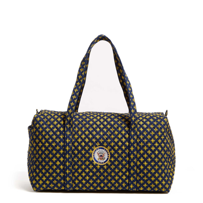 Military Large Travel Duffel Bag-Navy/Var. Gold Mini Concerto with U.S. Navy Logo-Image 1-Vera Bradley